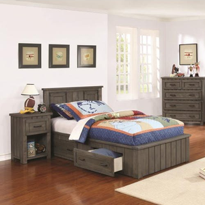 Item # 005HB Twin Panel Headboard - Finish: Gunsmoke<br><br>Available in Full Size<br><br>Optional Conversion to Twin Corner Bed w/ Corner Cabinet<br><br>Dimensions: 42W x 2.25D x 41