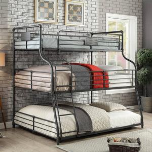 Item # 005QB Twin/Full/Queen Triple Decker Bed - Finish: Antique Black<br><br>Dimensions: 82 1/4L x 63W x 79H