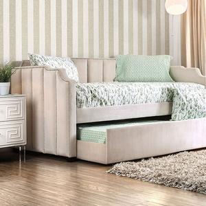 065DB Upholstered Twin Bed in Beige - Finish: Beige<br><br>Available in Black<br><br>Trundle Optional<br><br>Slat Kit Included<br><br>Dimensions: 86