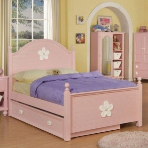 Item # 0914FB Pink Floral Full Bed - Finish: Pink / White Flower<br><br>Available in Twin Size<br><br>Box Spring Required<br><br>*Trundle Sold Separately*<br><br>Dimensions: 81