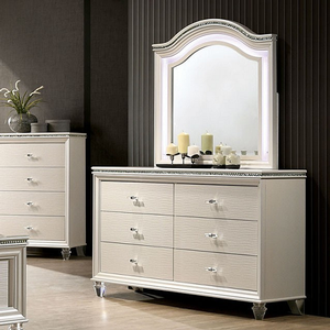 Item # 007M Mirror - Finish: Pearl White<br><br>Dresser sold separately<br><br>Dimensions: 38 5/8
