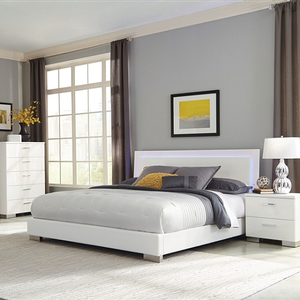 Item # 008FB - Finish: Glossy White<br><br>Available in Twin Size<br><br>Dimensions: 58.75W x 82D x 48.50H