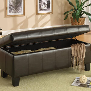Item # 008SB Lift-Top Storage Bench in Dark Brown - Finish: Dark Brown<br><br>Available in Floral, Leopard, Chocolate Corduroy, Red, Taupe or Purple Bi-case Vinyl<br><br>Dimensions: 43 x 17 x 18