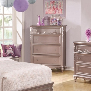 009CH 4 Drawer Chest in Metallic Lilac - Finish: Metallic Lilac<br><br>Available in White Finish<br><br>Dimensions: 38W x 19.75W x 50.25H