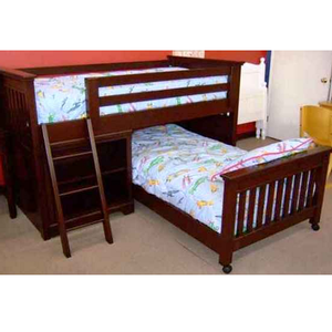 Item # 009LB Junior Loft Bed with Ladder and Bottom Bed - Junior loft bed with ladder and bottom bed<br><br>Available in any color.