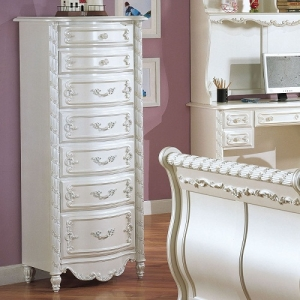 Item # 219CH Chest - Finish: Pearl White w/ Gold Brush Accent<br><br>Dimensions: 24