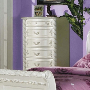 Item # 223CH Chest - Finish Pearl White w/ Gold Brush Accent<br><br>Dimensions: 32