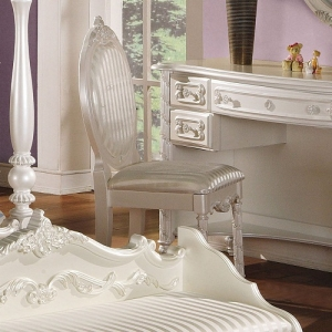 Item # 042CHR Student Chair - Finish: Pearl White w/ Gold Brush Accent<br><br>