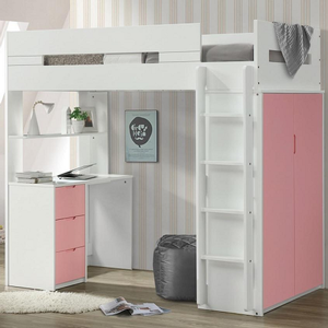 Item # 003Loft Twin Loft Bed Pink/White - Finish: Pink / White<br><br>Available in Gray/White, Teal/White & Oak/White Finish<br><br>Slats System Included<br><br>Dimensions: 78