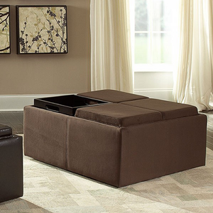 Item # 010SB Ottoman w/ Casters - Finish: Mocha Rhino Microfiber<br><br>Available in Dark Brown Bi-Cast Vinyl<br><br>Dimensions: 36 x 36 x 17H