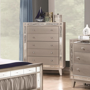 010CH 5 Drawer Chest with Crystal Finished Knob Hardware - Finish: Mercury Metallic<br><br>Dimensions: 32W x 16.5D x 49.25H