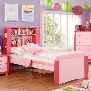 0111T Pink Twin Bed w/ Bookcase Headboard - Color/Finish: Pink<br><br>Available in White & Black<br><br>Available in Full Size<br><br>Dimensions: 85 1/4