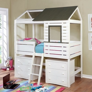 0121T Twin House Bed in White/Gray