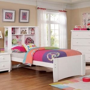 0122T White Twin Bed w/ Bookcase Headboard - Color/Finish: White<br><br>**Trundle Optional**<br><br>Available in Full Size<br><br>Available in Pink & Black<br><br>Dimensions: 85 1/4