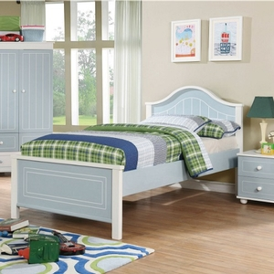 0123T Country Style Twin Bed - Finish: Blue/White<br><br>Available in Full Size<br><br>Dimensions: 79 1/2