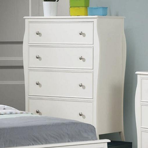 Item # 012CH Elegant 4 Drawer White Chest - Finish: White<br><br>Dimensions: 34W x 17.25D x 44.5H