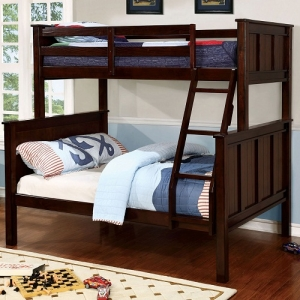 Item # A0013TF Twin/Full Bunk Bed - Available in Twin/Twin, Full/Full & Twin/Queen<Br><br>Contemporary Style<Br><br>Angled Ladder<br><br>Top & Bottom Slat Kit Included<br><Br>Extra Safety Insert & Lock Joint Structure<br><br>Mattress Ready <br><Br>