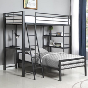 Item # 012MLB Twin Workstation Loft Bed - Finish: Gunmetal<br><br>Slat Kit Included<br><br>Optional Twin Bed (Sold Separately)<br><br>Dimensions: 78.50