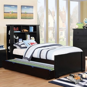 0151FB Black Full Bed w/ Bookcase Headboard - Color/Finish: Black<br><br>**Trundle Optional**<br><br>Available in Twin Size<br><br>Available in Pink & White<br><br>Dimensions: 85 1/4