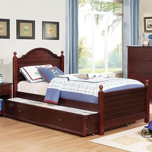 0031TB Kenzie Twin Bed in Cherry - Finish: Cherry<br><br>**Trundle Optional**<br><br>Available in Full Size<br><br>Available in Blue & Gray<br><br>Dimensions: 80 1/2