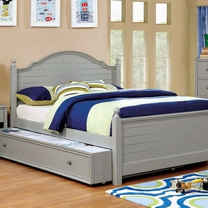 0050 Winter Twin Bed in Gray  - Finish: Gray<br><br>**Optional Trundle**<br><br>Available in Full Size<br><br>Available in Cherry & Blue<br><br>Dimensions: 80 1/2