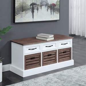 Item # 013SB Three Drawer Storage Bench - Finish: Weathered Brown/White<br><br>Available in Weathered Brown/White<br><br>Dimensions: 39.25W x 13.75D x 17.75H