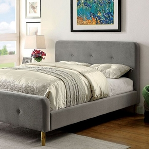 0149T Upholstered Twin Bed in Gray - Finish: Gray Fabric<br><br>Slat Kit Included<br><br>Available in Full Size or Queen Size<br><br>Available in Navy Blue<br><br>Dimensions: 83