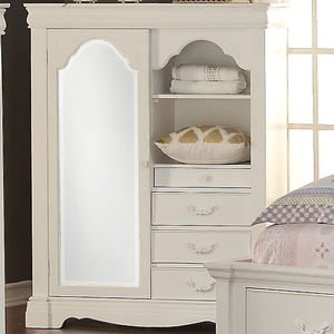 014AM Armoire w/ Mirror and Storage Drawers - Finish: White<br><br>Dimensions: 46