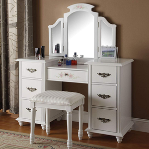 Item # 014M White Fold Out Mirror - Finish: White<br><br>Dimensions: 36