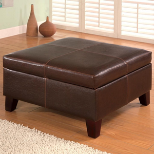 Item # 014SB Storage Ottoman - Finish: Dark Brown<br><br>Upholstery: Leatherette<br><br>Leg Finish: Brown<br><br>Dimensions: 28W x 28D x 15.50H