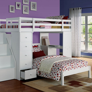 0158T White Twin Bed - Finish: White<br><br>Bunkie Board Not Required<br><br>No Box Spring Required<br><br>Slat Kit Included<br><br>Dimensions: 79