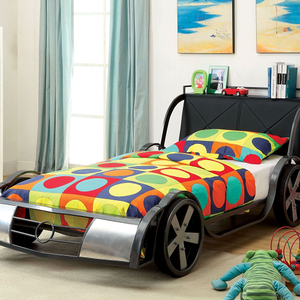 015TB Twin Racer Car Bed - Available in Full Size<br><br>Durable Metal Construction<br><br>Headboard Shelf<br><Br>Leatherette Headboard<br><br>Mattress Ready<br><br>Silver & Gunmetal Frame<Br><br>