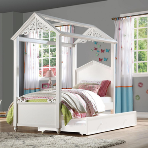 0160T Antique House Twin Canopy Bed - Finish: White<br><br>Available in Full Size<br><br>Trundle Sold Separately<br><br>Slats System Included<br><br>Dimensions: 82