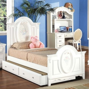 A0055T Twin Panel Bed  - Finish: White<br><br>Available in Full SIze<br><br>Trundle Sold Separately<br><br>Box Spring Required<br><br>Dimensions: 81