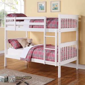 0169TT Twin/Twin w/ Bunk to Bunk Ladder - Finish: White<br><br>Available in Black<br><br>**Optional Storage Trundle<br><br>Slat Kits Included<br><br>Available in Twin/Full Bunk Bed Or Full/Full Bunk<br><br>Dimensions: 79.25