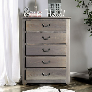 Item # 016CH 5 Drawer Chest - Finish: Weathered Gray<br><br>Dimensions: 36W x 20D x 47 3/4H