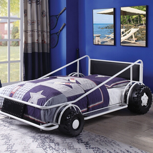 Item # 016TB Twin Race Car Bed in White / Black - Finish: White / Black<br><br>Available in Red, Yellow & White<br><br>No Box Spring Required<br><br>Dimensions: 79