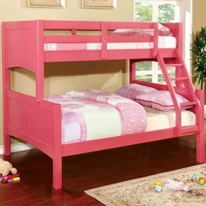 A0021TF Pink Twin/Full Bunk Bed - <b>Optional Pull-Out Trundle</b><br> 13 Pc.Slats Top & Bottom<br><br>Attached Ladder<br><Br>Mattress Ready<br><br>Extra Safety Insert & Lock Joint Structure<br><br>