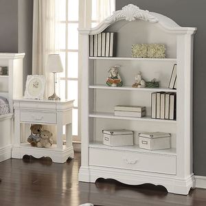 024BC Antique Style Bookcase w/ Single Drawer - Finish: White<br><br>Dimensions: 41