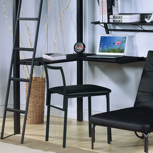017CHR Metal Desk Chair in Black - Finish: Black<br><br>Loft Bed Sold Separately<br><br>Slats System Included<br><br>Dimensions: 26