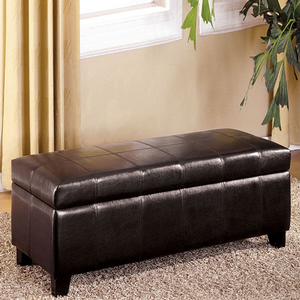 Item # 017SB Storage Bench - Finish: Espresso Leatherette<br><br>Dimensions: 43 1/2