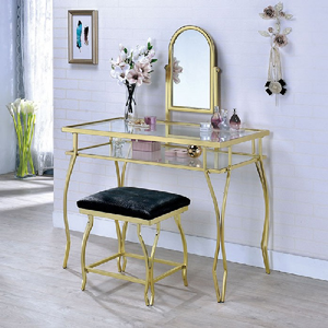 Item # 017V Metal Vanity Set in Champagne - Finish: Champagne<br><br>Available in Chrome<br><br>