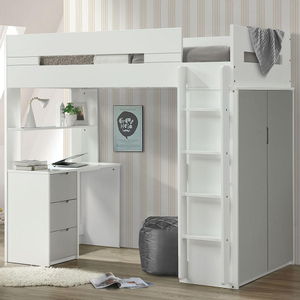 018LB Twin Loft Bed in Gray/White Finish - Finish: Gray/White<br><br>Available in Pink/White, Teal/White & Oak/White<br><br>Bunkie Board Not Required<br><br>Dimensions: 78