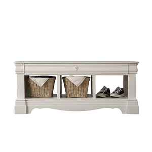 Item # 018SB Antique Style Storage Bench - Finish: White<br><br>Dimensions: 48