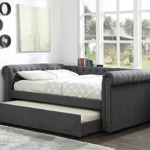 Item # 019DB Upholstered Daybed w/ Trundle in Gray - FInish: Gray<br><br>Available in Beige<br><br>Available in Twin Size or Queen Size<br><br>Slat Kit Included<br><br>Dimensions: 101