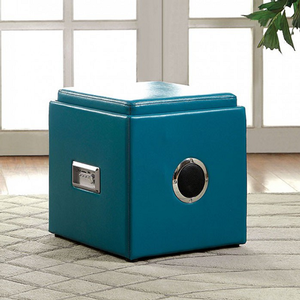 Item # 019SB Storage Ottoman w/ Bluetooth Speaker - Finish: Blue<br><br>Available in White, Pink, Green, Black & Red Finish<br><br>Dimensions: 16 1/4