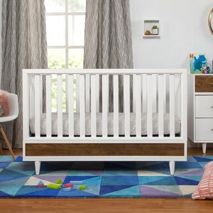 019CRB Two-Tone 4-in-1 Crib - Finish: White/Natural Walnut<br><br>Made in Taiwan<br><br>Assembly Required<br><br>Dimensions: 55.125