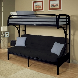 088MBB Twin/Full Futon Bunk Bed - Finish: Black<br><br>Available in Yellow, Green, Red, White, Blue, Silver & Purple Finish<br><br>Available in Twin XL/Queen Futon Bunk Bed<br><br>Dimensions: 78