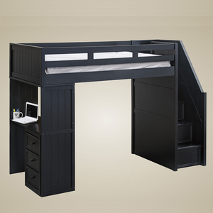 025LB Twin Loft Bed With Desk and Steps in Black