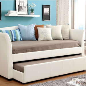 Item # 021DB White Upholstered Daybed W/ Twin Trundle - Contemporary Style<br><Br>Leatherette Platform Daybed<br><br>Twin Trundle w/ Casters<Br><Br>Slat Kit Included<Br><Br>